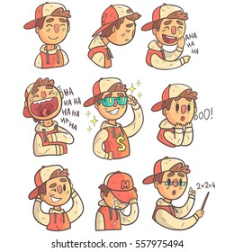 Boy In Cap And College Jacket Collection Of Hand Drawn Emoji Cool Outlined Portraits. Set Of Funky Flat Vector Stickers With Teenager Different Emotional Facial Expressions In Comics Style.