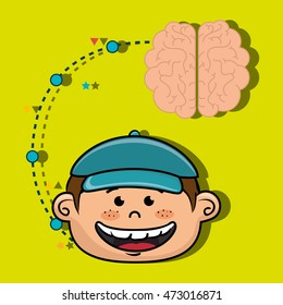 boy cartoon brain idea vector illustration design