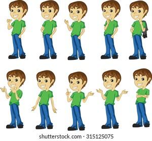 Boy Cartoon Character Set in Various Poses