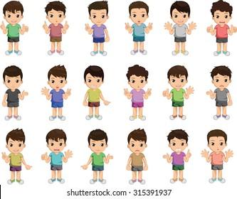 Boy Cartoon Character Vector Set