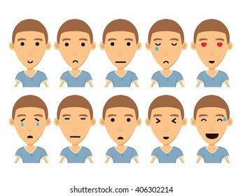 Boy Cartoon Character Vector Set. Isolated. Illustration