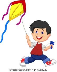 Boy cartoon playing kite
