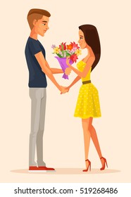 Boy character gives gift bouquet flowers to girl character. First love date. Vector flat cartoon illustration