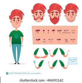Boy character for your scenes.Parts of body template for design work and animation.   Funny cartoon.Vector illustration isolated on white background. Set for character speaks animations.Hipster beard
