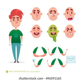 Boy character for your scenes.Parts of body template for design work and animation.   Funny cartoon.Vector illustration isolated on white background.Man emotion faces.Boy emoji face icons and symbols.