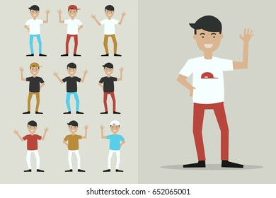 boy characters say goodbye ,illustration vector cartoon set.