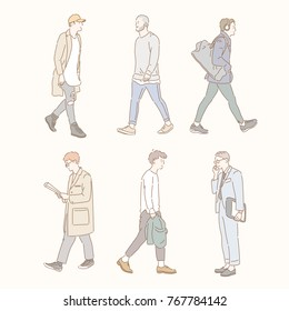 boy characters walking down the street in a stylish fashion. hand drawn style vector doodle design illustrations.