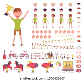 Boy child 7, 9 years old, school age kid construction set, schoolboy, active guy in summer wear, fun, activities creation elements to build your own design. Cartoon flat style infographic illustration