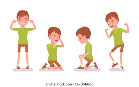 Boy child 7-9 years old, negative male school age kid. Unhappy angry schoolboy crying, feeling hurt and upset with bullying. Vector flat style cartoon illustration isolated on white background