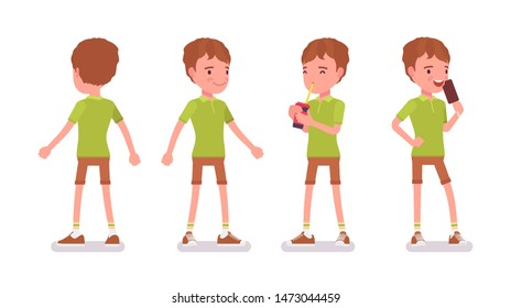 Boy child 7-9 years old, active male school age kid standing, drinking soda water, enjoy eating icecream. Vector flat style cartoon illustration isolated on white background, front and rear view