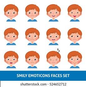 Boy child cute emoji, set smily emoticons faces vector illustration