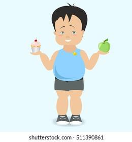 The boy chooses a healthy lifestyle. The fat kid. Vector cartoon