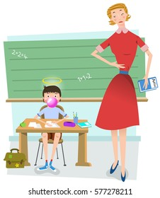 Boy in class blows bubble gum while his lady teacher is watching him angrily, chalk board in background (vintage vector illustration)