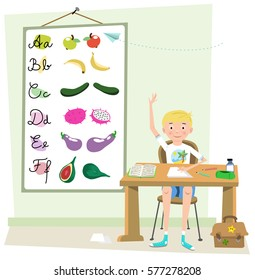 Boy in class raising his hand, school equipment and stationery on desk, board with fruit and vegetable alphabeth in background (Fifties style cartoon)