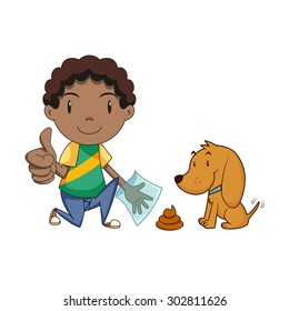 Boy cleaning dog waste, clean up after your pet, vector illustration