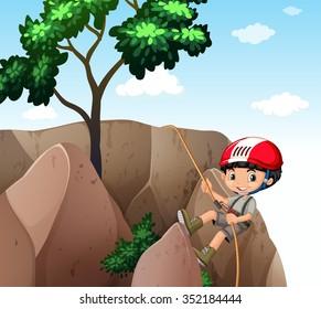 Boy climbing up the cliff illustration