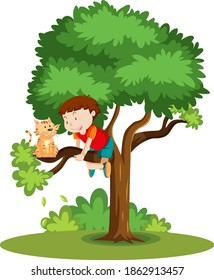 A boy climbing to help a cat thats stuck on the tree cartoon isolated illustration