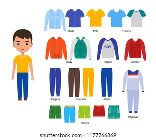 Boy with clothes. Vector clothing. Cartoon character paper doll with casual cloths set isolated on white background. Illustration of children pants, shirts, shorts, knitwear and pajamas.