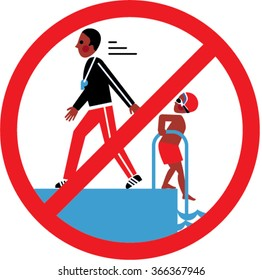 Boy and coach in the Swimming pool.  No swimming alone rule. vector