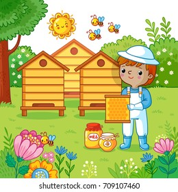 Boy collects honey on a bee apiary. Vector illustration with beekeeper, garden, apiary.
