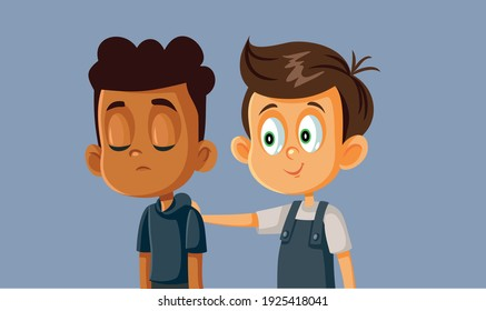 Boy Comforting his Sad Best Friend. Young kid showing empathy consoling and encouraging his colleague