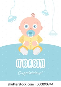 It is a boy. Congratulations. Vector flat illustration of greeting card with baby boy. Soft pastel colors.  Kid dressed in overalls sits on the floor.