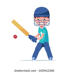 Boy cricket player stands with a bat and hit the ball. Small child in sportswear plays cricket. Vector illustration isolated on white, flat style.