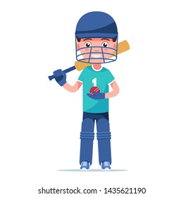 Boy cricketer stands in sport uniform with protective gloves bat and a ball. Little kid cricket player standing with a bat behind his head. Vector illustration isolated on white, flat style.