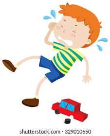 Boy crying because of broken toy illustration