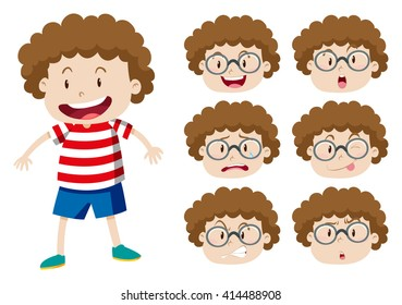 Boy with curly hair and many expressions illustration