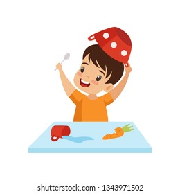 Boy Dabbling with Food at Table. Cute Naughty Kid, Bad Child Behavior Vector Illustration