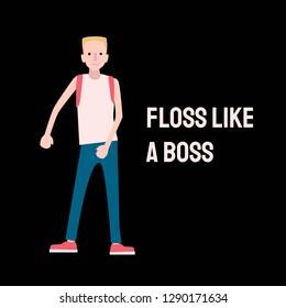 Boy dancing floss dance. Vector illustration for poster, card, t shirt print.