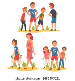 Boy Defending Little Kids, Helping Pregnant Woman Carry Shopping Bags, Polite, Brave Kids Set, Good Manners Vector Illustration