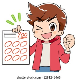 A boy is delighted to have a test paper of 100 points.