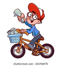 A boy delivering newspapers on a bicycle.. Cartoon paper boy. Vector clip-art illustration on a white background.