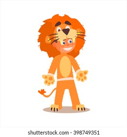 Boy Desguised As Lion Flat Isolated Vector Image In Cartoon Style On White Background