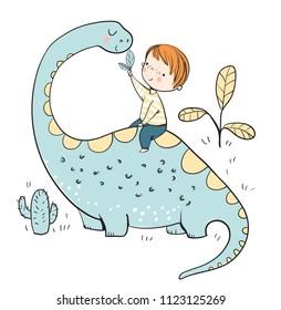 boy with dinosaur