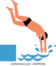 Boy diving and jumping into water. Flat design. Diving child Vector illustration.