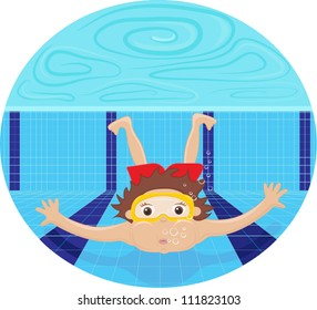 Boy diving in the swimming pool