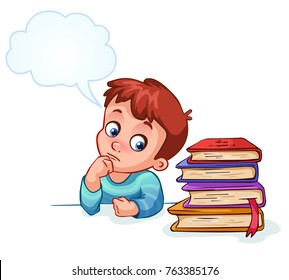 boy does not want to learn and thinks about fun. Vector illustration. Can be used for fashion print design, kids wear, baby shower, celebration greeting and invitation card, postcard.