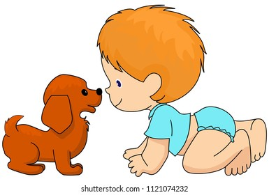 Boy and the dog are friends. Vector, isolated. Socialization, Infancy. Diapers.