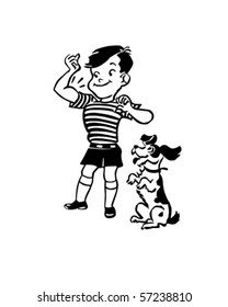Boy With Dog - Retro Clip Art