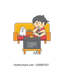 Boy and the Dog Watching Television Character Vector Illustration