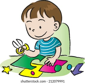 Boy Doing Art Craft Stock Vector Royalty Free 212079991