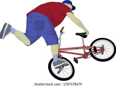 boy doing bike trick on  BMX bike