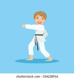Boy Doing Fist Kick In White Kimono in Karate Martial Art Sports Training. Cute Smiling Cartoon Character