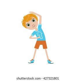 Boy Doing Stretching Exercise Simple Design Illustration In Cute Fun Cartoon Style Isolated On White Background