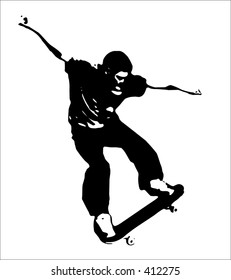 boy doing a trick on a skateboard black vector.