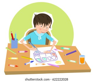 Boy drawing a picture of a car, color pencils and crayons lying on table (vector cartoon)