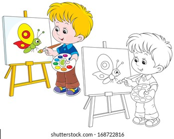 Boy drawing a picture with a funny butterfly